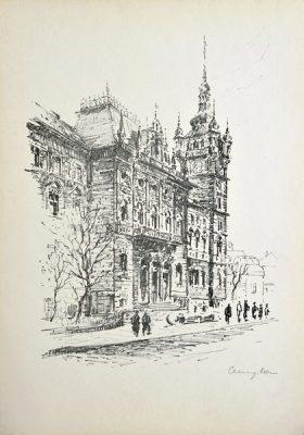 Oryginalna grafika z 1956 r. w technice litografii przedstawiająca widok miasta Bielsko-Biała. Rycina sygnowana: JÓZEF CEMPLA