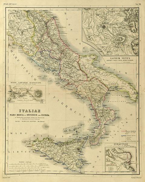 Oryginalna grafika w technice litografii przedstawiająca mapę starożytnej Italii. Rycinę wykonał w Berlinie pod koniec XIX w. J. SULZER.