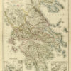 Oryginalna grafika w technice litografii przedstawiająca mapę starożytnej Grecji. Rycinę wykonał w Berlinie pod koniec XIX w. J. SULZER.