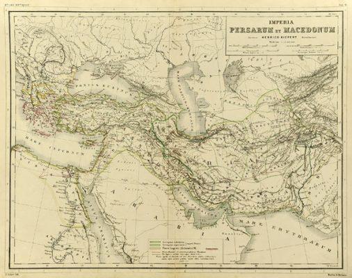 Oryginalna grafika w technice litografii przedstawiająca mapę Imperia Persarum et Macedonum. Rycinę wykonał w Berlinie pod koniec XIX w. J. SULZER.