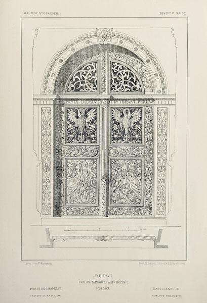Grafika w technice fotolitografii z 1894 roku przedstawiająca XVII-wieczne drzwi  kaplicy zamkowej w Krasiczynie.