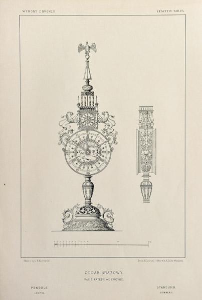 Grafika w technice fotolitografii z 1894 roku przedstawiająca XVII-wieczny brązowy zegar ze zbiorów kapituły katedry łacińskiej we Lwowie.