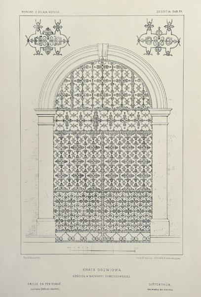 Grafika w technice fotolitografii z 1894 roku przedstawiająca XVII-wieczną kratę drzwiową z kościoła w Kalwarii Zebrzydowskiej