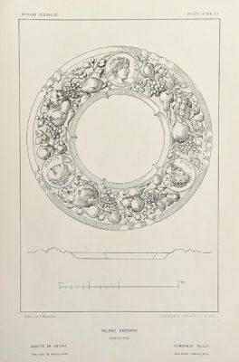 Grafika w technice fotolitografii z 1894 roku przedstawiająca XVII-wieczny srebrny talerz ze zbiorów X. Sapiechy w Krasiczynie.