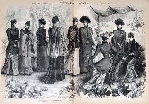 """Oryginalna grafika w technice drzeworytu sztorcowego """"Pardessus d'hiver"""" wykonana w 1855 roku jako ilustracja do francuskiego czasopisma """"La mode illustrée""""."""