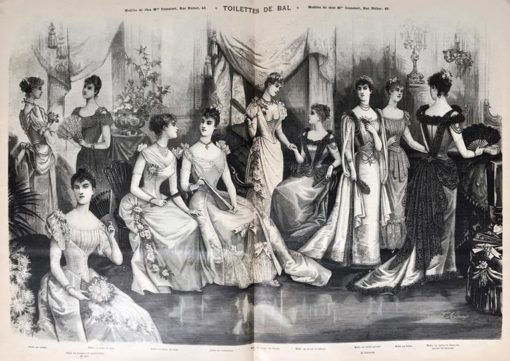 """Oryginalna grafika w technice drzeworytu sztorcowego """"Toilettes de bal"""" wykonana w 1855 roku jako ilustracja do francuskiego czasopisma """"La mode illustrée""""."""