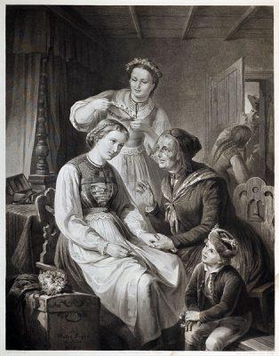 Dużych rozmiarów staloryt ze sceną błogosławieństwa panny młodej przed ślubem przez matkę. Rycinę wykonał A. Wagenmann według obrazu malarza: R. Heck w II połowie XIX wieku.