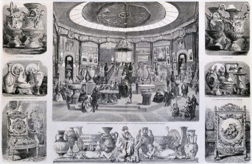 Francuska grafika z przedstawieniem wystawy manufaktury królewskiej w Sevres w Paryżu w 1855 r. Rycina  została wykonana w technice drzeworytu w 1855r.