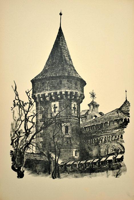 Oryginalna grafika wykonana w technice litografii w 1926 roku i wydana przez Muzeum Narodowe w Krakowie. Grafikę przedstawiającą Basztę Stolarską wykonał JAN KANTY GUMOWSKI w 1926 roku.