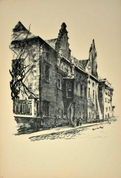 Oryginalna grafika wykonana w technice litografii w 1926 roku i wydana przez Muzeum Narodowe w Krakowie. Grafikę przedstawiającą Bibliotekę Jagiellońską wykonał JAN KANTY GUMOWSKI w 1926 roku.