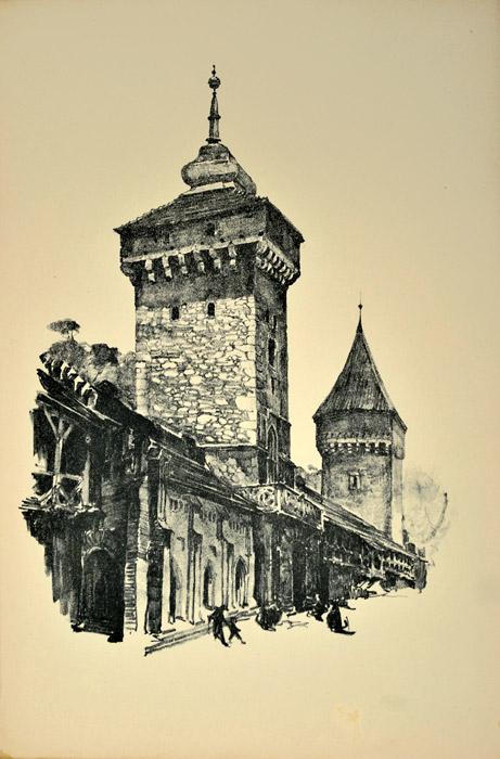 Oryginalna grafika wykonana w technice litografii w 1926 roku i wydana przez Muzeum Narodowe w Krakowie. Grafikę przedstawiającą Bramę Floriańską i basztę pasamoników wykonał JAN KANTY GUMOWSKI w 1926 roku.