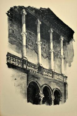 Oryginalna grafika wykonana w technice litografii w 1926 roku i wydana przez Muzeum Narodowe w Krakowie. Grafikę przedstawiającą Fragment krużganku Zamku Królewskiego na Wawelu wykonał JAN KANTY GUMOWSKI w 1926 roku.