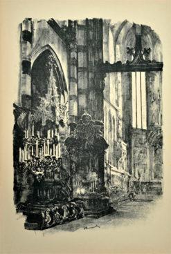 Oryginalna grafika wykonana w technice litografii w 1926 roku i wydana przez Muzeum Narodowe w Krakowie. Grafikę przedstawiającą Wnętrze kościoła Mariackiego wykonał JAN KANTY GUMOWSKI w 1926 roku.