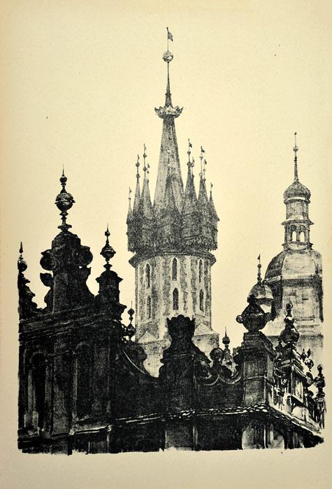 Oryginalna grafika wykonana w technice litografii w 1926 roku i wydana przez Muzeum Narodowe w Krakowie. Grafikę przedstawiającą Szczyty Sukiennic i wieże kościoła Marjackiego wykonał JAN KANTY GUMOWSKI w 1926 roku.