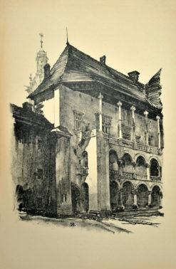 Oryginalna grafika wykonana w technice litografii w 1926 roku i wydana przez Muzeum Narodowe w Krakowie. Grafikę przedstawiającą Dziedziniec Zamku Królewskiego na Wawelu wykonał JAN KANTY GUMOWSKI w 1926 roku.