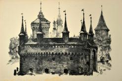 Oryginalna grafika wykonana w technice litografii w 1926 roku i wydana przez Muzeum Narodowe w Krakowie. Grafikę przedstawiającą Barbakan wykonał JAN KANTY GUMOWSKI w 1926 roku.