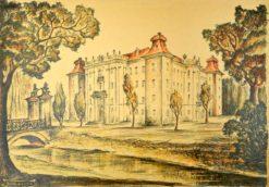 Oryginalna grafika wykonana w technice litografii w 1933 roku z okazji XIV Zjazdu Lekarzy i Przyrodników Polskich. Grafikę przedstawiającą Zamek Książąt Sułkowskich w Rydzynie wykonał ROMUALD BOGACZYK w 1933 r.