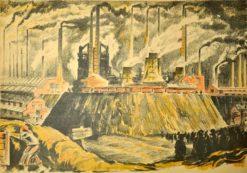 Oryginalna grafika wykonana w technice litografii w 1933 roku z okazji XIV Zjazdu Lekarzy i Przyrodników Polskich. Grafikę przedstawiającą Górny Śląsk - Huty i kopalnie pod Świętochłowicami wykonał JAN WRONIECKI w 1933 r.