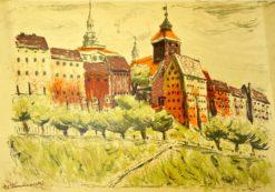 Oryginalna grafika wykonana w technice litografii w 1933 roku z okazji XIV Zjazdu Lekarzy i Przyrodników Polskich. Grafikę przedstawiającą Stare spichrze w Grudziądzu wykonał WACŁAW TARANCZEWSKI w 1933 r.