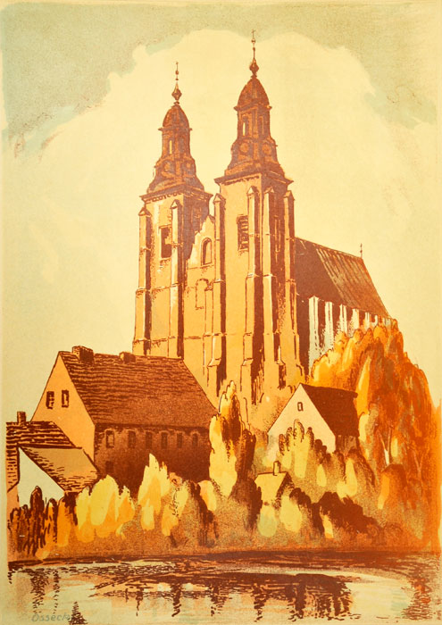 Oryginalna grafika wykonana w technice litografii w 1933 roku z okazji XIV Zjazdu Lekarzy i Przyrodników Polskich. Grafikę przedstawiającą Katedrę w Gnieźnie wykonał WILK OSSECKI w 1933 r.