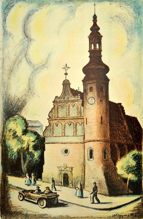 Oryginalna grafika wykonana w technice litografii w 1933 roku z okazji XIV Zjazdu Lekarzy i Przyrodników Polskich. Grafikę przedstawiającą Kościół Klarysek w Bydgoszczy wykonał WŁADYSŁAW ROGUSKI w 1933 r.