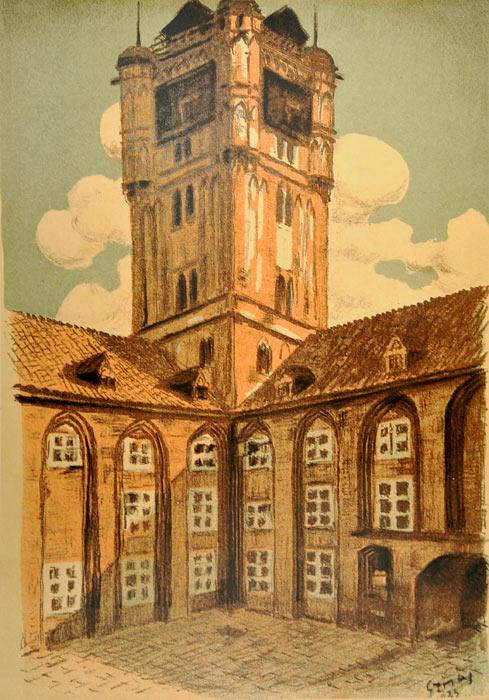 Oryginalna grafika wykonana w technice litografii w 1933 roku z okazji XIV Zjazdu Lekarzy i Przyrodników Polskich. Grafikę przedstawiającą Ratusz w Toruniu wykonał STANISŁAW SZMAJ w 1933 r.