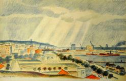 Oryginalna grafika wykonana w technice litografii w 1933 roku z okazji XIV Zjazdu Lekarzy i Przyrodników Polskich. Grafikę Port w Gdyni - widok ogólny z Kamiennej Góry wykonał ZYGMUNT SZPINGER w 1933 r.