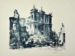 Oryginalna grafika wykonana w technice autolitografii w 1945 roku. Grafikę przedstawiającą kościół Franciszkanów w Warszawie tuż po zakończeniu II wojny światowej wykonał ANTONI SUCHANEK w 1945 roku.