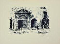 Oryginalna grafika wykonana w technice autolitografii w 1945 roku. Grafikę przedstawiającą Stare Miasto