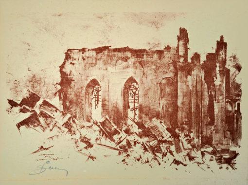 Oryginalna grafika wykonana w technice autolitografii w 1945 roku. Grafikę przedstawiającą katedrę Świętego Jana tuż po zakończeniu II wojny światowej wykonał ANTONI SUCHANEK w 1945 roku.