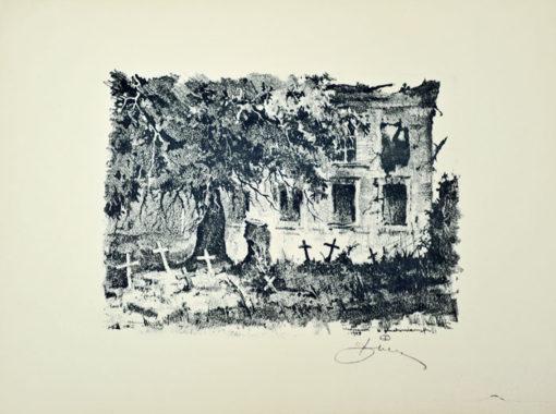 Oryginalna grafika wykonana w technice autolitografii w 1945 roku. Grafikę przedstawiającą ulicę Świętojańską tuż po zakończeniu II wojny światowej wykonał ANTONI SUCHANEK w 1945 roku.