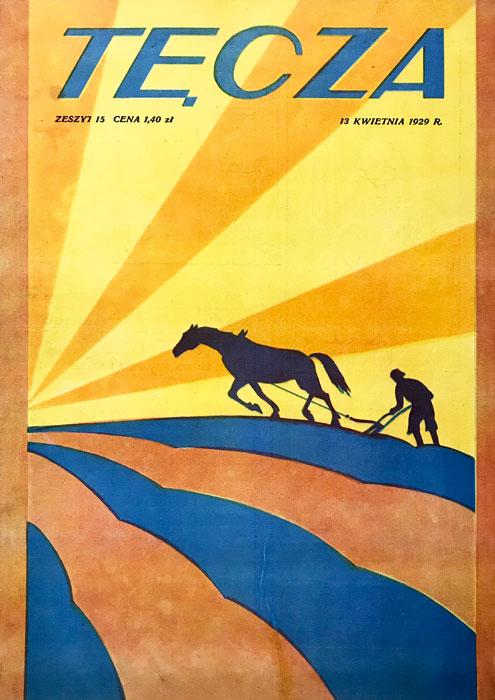 """Oryginalna grafika z 1929 roku zaprojektowana w stylu art deco. Grafika stanowiła okładkę czasopisma kulturalno-społecznego """"Tęcza""""."""