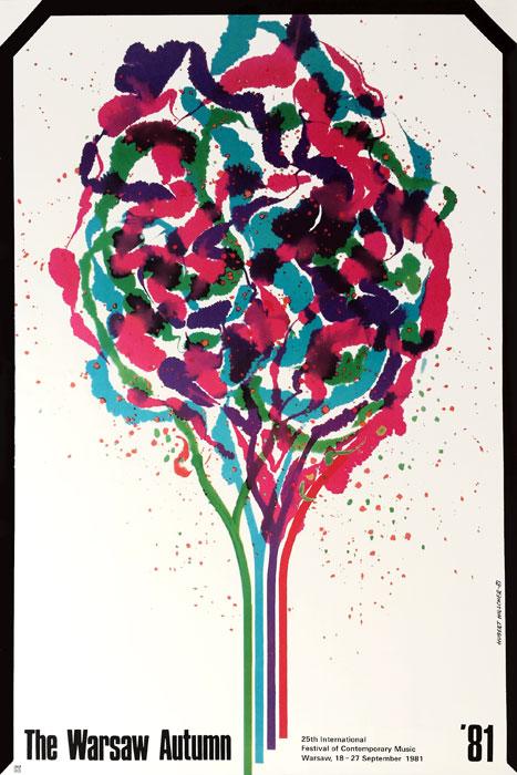 Oryginalny polski plakat muzyczny reklamujący Warszawską Jesień - Międzynarodowy Konkurs Muzyki Współczesnej. Projekt HUBERT HILSCHER