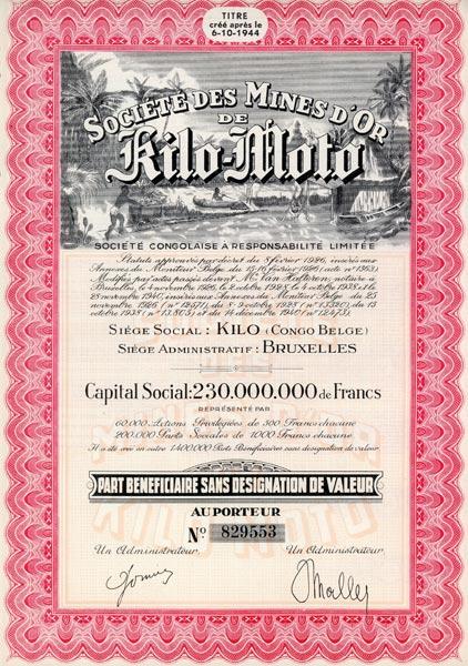 Oryginalna akcja przedsiębiorstwa kopalni złota w Kongo Belgijskim wydana w 1944 roku przez zarząd w Brukseli. Do akcji dołączone są kupony