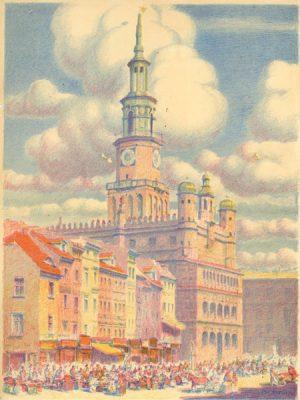 Litografia przedstawiająca panoramę miasta Poznań wykonana przez Franciszka Tatulę ok 1930 r.