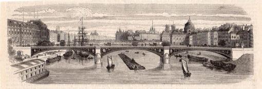 Grafika w technice drzeworytu sztorcowego z lat 1880-tych przedstawiająca panoramę Paryża od strony rzeki Sekwany.