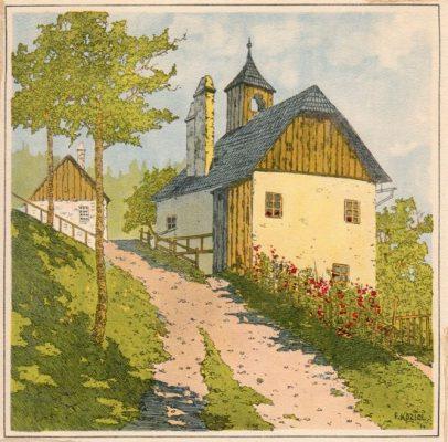 """Oryginalna barwna litografia z przełomu XIX i XX w. pt. """"Beim Knappenhof"""" z serii widoków Alp austriackich. Rytował: Fritz Koziol."""