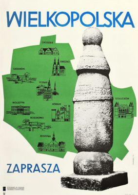 """Oryginalny polski plakat turystyczny z 1966 roku reklamujący region wielkopolski """"Wielkopolska zaprasza"""". Projekt: B. Hubicka"""
