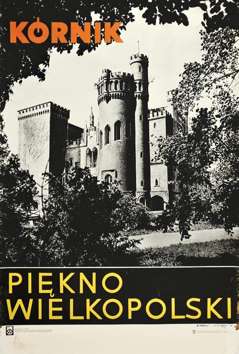 Oryginalny polski plakat turystyczny z 1966 roku reklamujący miasto Kórnik jako piękno Wielkopolski. Projekt: B. Hubicka