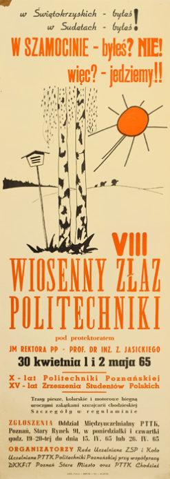Oryginalny polski plakat turystyczny z 1965 roku propagujący VII Wiosenny Złaz Politechniki w Szamocinie 30 kwietnia 1 i 2 maja 1965 r.