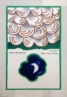 Oryginalny polski plakat teatralny zapowiadający sztukę Sen nocy letniej