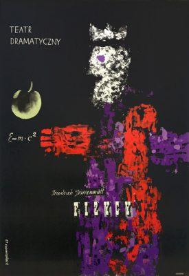 Oryginalny polski plakat teatralny zapowiadający sztukę Fizycy.  Projekt plakatu: JERZY SROKOWSKI