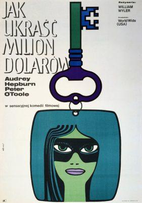"""Oryginalny polski plakat filmowy do amerykańskiej komedii """"Jak ukraść milion dolarów"""". Reżyseria William Wyler. Projekt plakatu: MACIEJ HIBNER"""