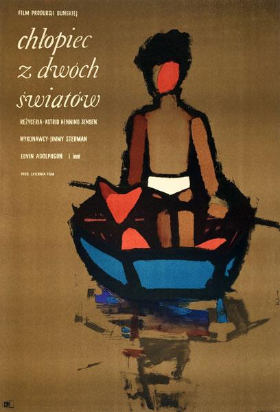 "Original Polish movie poster for Dannish film ""Chłopiec z dwóch światów"" directed by Astrid Henning-Jensen. Designed by MACIEJ HIBNER"