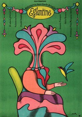 """Oryginalny polski plakat filmowy do francuskiego filmu """"Eglantine"""". Reżyseria Jean-Claude Brialy. Projekt plakatu: JERZY FLISAK"""