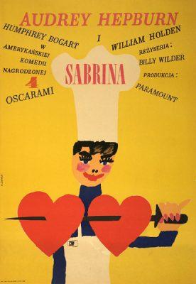 """Oryginalny polski plakat filmowy do amerykańskiego filmu """"Sabrina"""". Reżyseria: Billy Wilder. Projekt plakatu: MACIEJ ŻBIKOWSKI"""