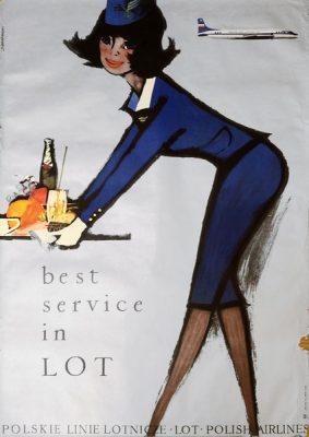 Oryginalny polski plakat reklamujący PLL LOT