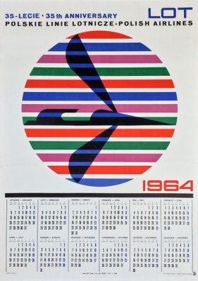 Oryginalny polski plakat - kalendarz na rok 1964 dla PLL LOT z okazji 35-lecia Linii Lotniczych. Projekt plakatu: HUBERT HILSCHER