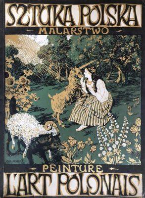 """Oryginalna grafika w technice litografii  wykonana w 1903 roku przez JÓZEFA MOHOFFERA jako strona tytułowa albumu """"Sztuka Polska- malarstwo; L'Art Polonais- Peintures""""."""