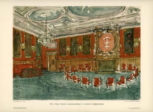 """Oryginalna litografia artystyczna z 1928 r. z serii """"Zamki i pałace polskie"""". Autor grafiki: STANISŁAW NOAKOWSKI"""